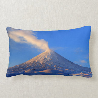 Impressive winter volcanic eruption at sunrise lumbar cushion