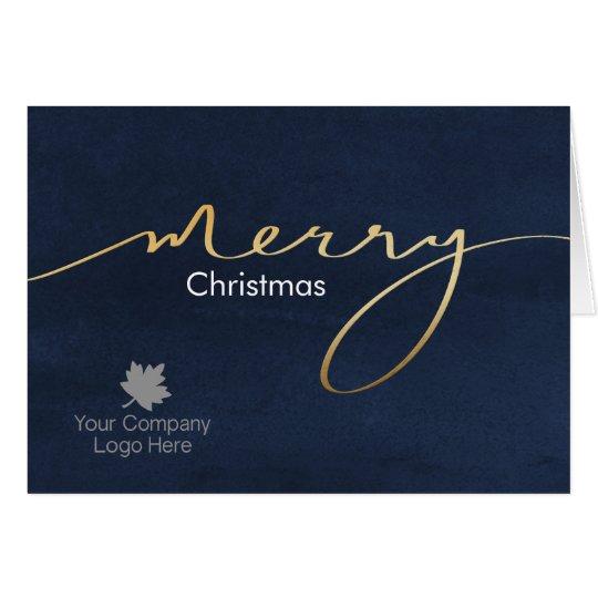 Imprinted Logo Gold Joy Script Holiday Corporate Card