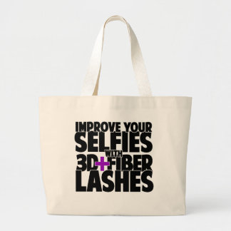 Improve your selfies with 3d + Fiber Lashes Large Tote Bag
