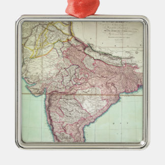Improved Map of India published in London 1820 Silver-Colored Square Decoration