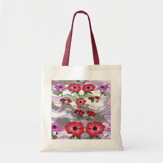 Impulse 2 color Tote Red Flower Red Handles Budget Tote Bag