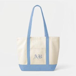 Impulse natural/lt blue Tote Monogram Template Impulse Tote Bag