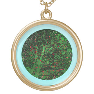 In a green circle round pendant necklace