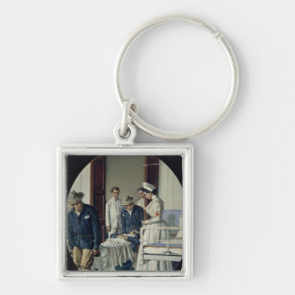 In a military Hospital Silver-Colored Square Key Ring