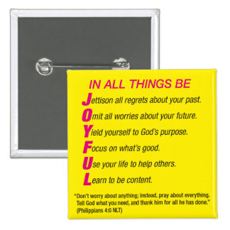 In All Things Be Joyful religious scripture button