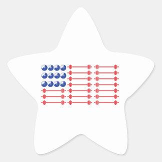 In Bar We Trust - Weightlifting American Flag Star Sticker