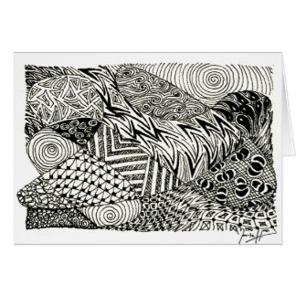 in Black and White -Abstract Manatee Card