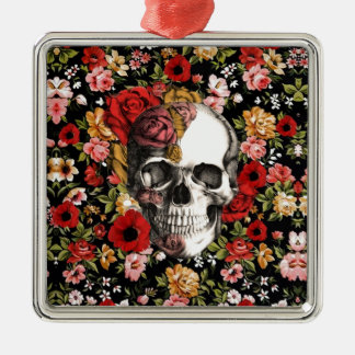 In bloom, retro floral pattern with skull christmas ornament