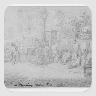 In Bloomsbury Square during the heat wave, 1828 Square Sticker