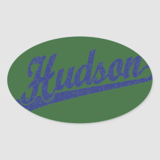 in Blue distressed Oval Stickers