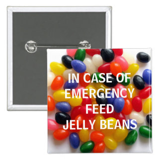 In Case of Emergency Jelly Bean Button 2 Inch Square Button