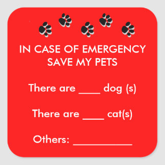 In Case of Emergency Rescue Pets Sticker