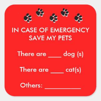 In Case of Emergency Rescue Pets Sticker