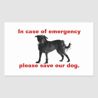 In case of emergency save our dog rectangular sticker
