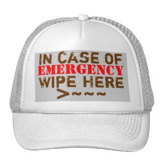 In case of EMERGENCY Wipe Here Cap