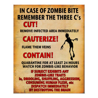 """""""IN CASE OF ZOMBIE BITE"""" poster Angry Johnny"""