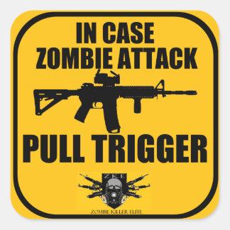 In Case Zombie Attack Pull Trigger Sticker