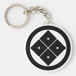 In circle corner raising four squares basic round button key ring