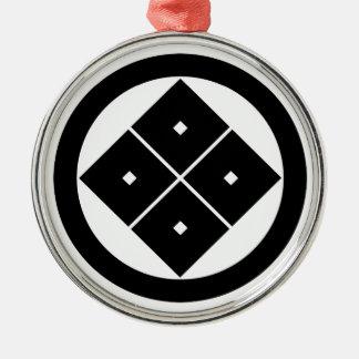 In circle corner raising four squares christmas ornament