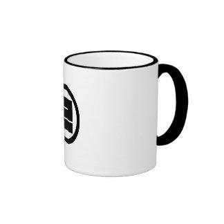 In circle one angular letter ringer mug