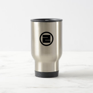 In circle one angular letter stainless steel travel mug