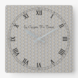 In Crypto We Trust Litecoin Tiled Wall Clock