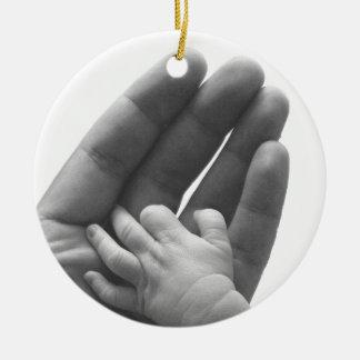 In Daddy's Hand Round Ceramic Decoration
