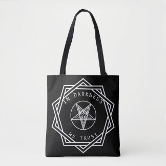 In darkness we trust tote bag