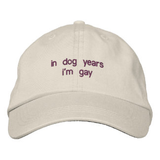 in dog years i'm gay embroidered hat