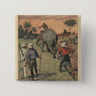 In French Congo, elephant trained to ploughing 15 Cm Square Badge