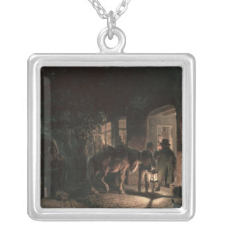 In front of the Pub, 1843 Silver Plated Necklace