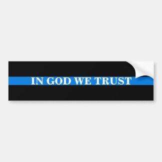 """IN GOD WE TRUST"" ON THIN BLUE LINE BUMPER STICKER"