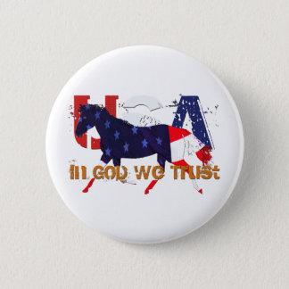 In God We Trust-Patriotic Horse 6 Cm Round Badge