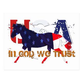 In God We Trust-Patriotic Horse Postcard