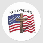 In God We Trust with rugged cross and US flag Round Sticker