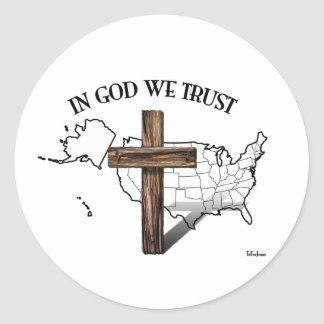 In God We Trust with rugged cross and US outline Classic Round Sticker