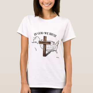 In God We Trust with rugged cross and US outline T-Shirt