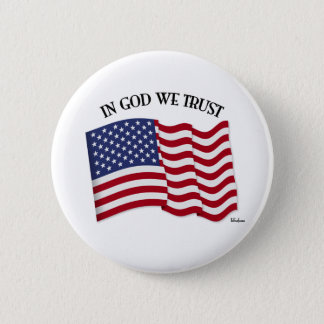 In God We Trust with US flag 6 Cm Round Badge