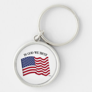 In God We Trust with US flag Key Ring