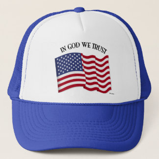 In God We Trust with US flag Trucker Hat