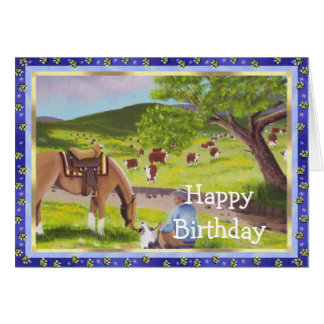 In Gods Country ~ Cowboy & Australian Shepherd Greeting Cards