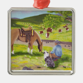 In Gods Country ~ Cowboy & Australian Shepherd Christmas Ornaments