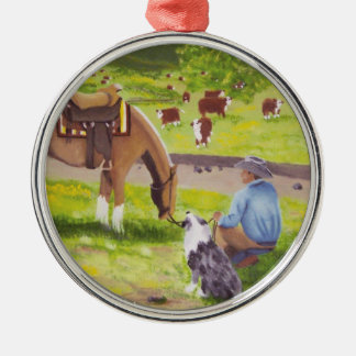 In Gods Country ~ Cowboy & Australian Shepherd Christmas Tree Ornaments