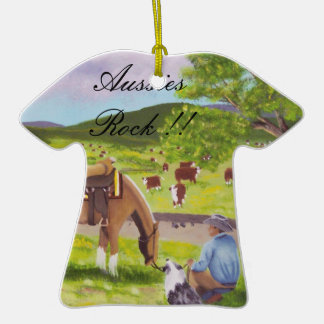In Gods Country ~ Cowboy & Australian Shepherd Christmas Tree Ornament