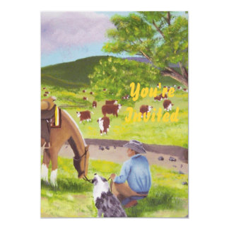 In Gods Country ~ Cowboy & Australian Shepherd Personalized Invitation