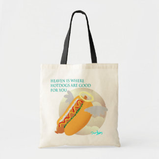 In heaven, hotdogs are good for you budget tote bag