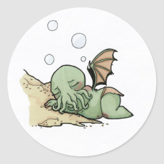 In his house at R'lyeh dead Cthulhu waits dreaming Classic Round Sticker