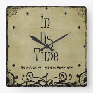 In His time Bible Verse Square Wall Clock