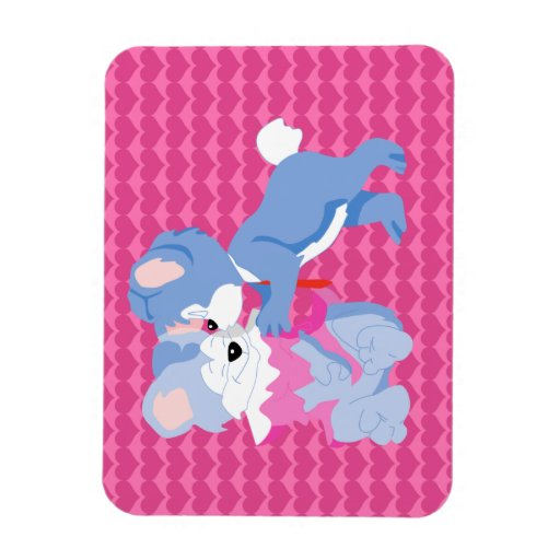 In love bears with pink hearts background rectangle magnet