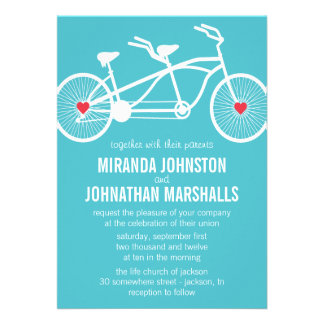 In love- Blue Bicycle Design Wedding Invitations
